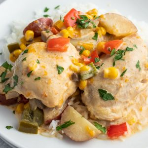 square image of crock pot chicken and potatoes