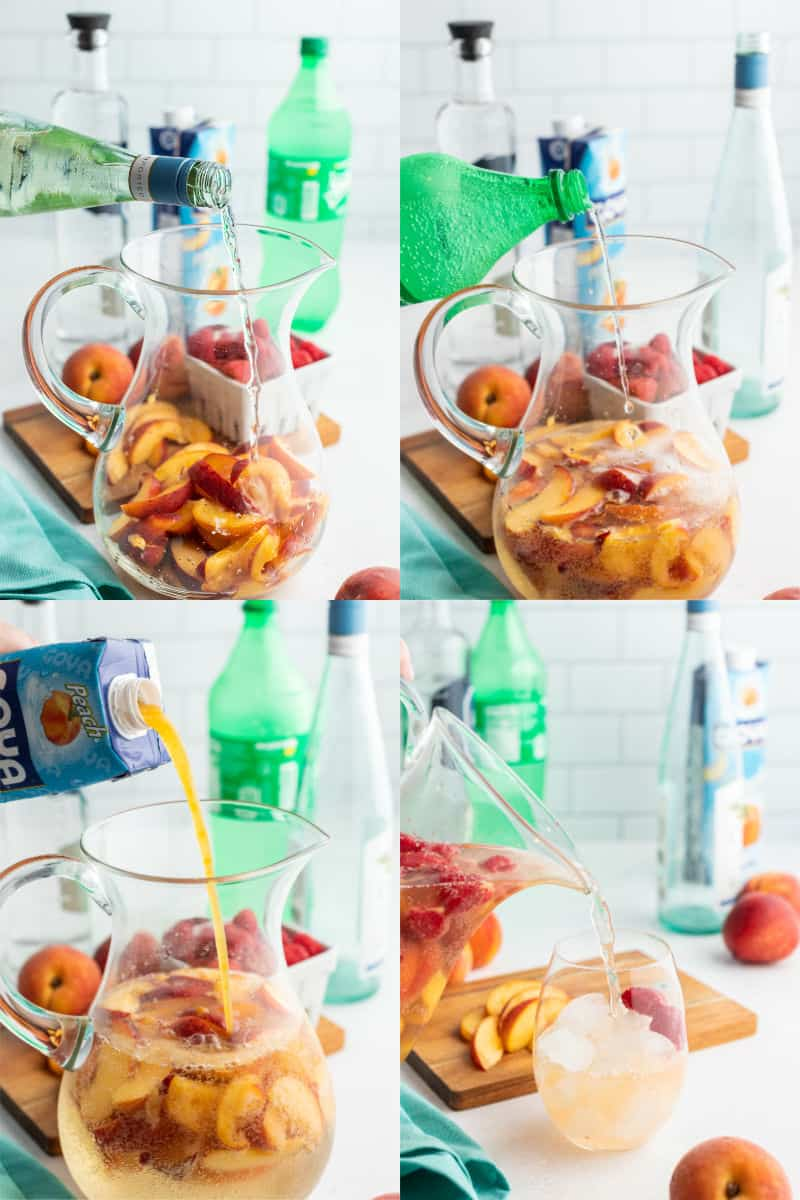 wine, lemon-lime soda, and peach nectar being poured into a pitcher with peaches and raspberries, and then punch being poured into a glass with ice