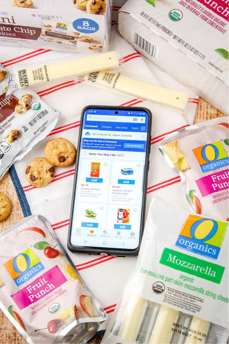 Albertsons mobile app with instore coupons showing on screen