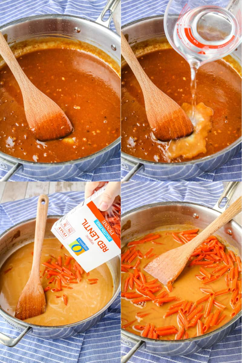 peanut sauce after cooking in a skillet with a wooden spatula, water being added to peanut sauce, O Organics red lentil pasta being added to skillet, penne pasta stirred into peanut sauce before cooking
