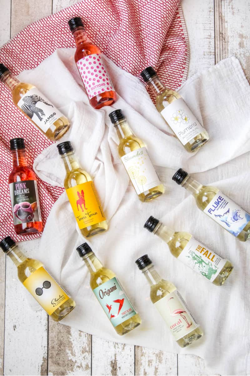 187mL bottles of white and rose wines