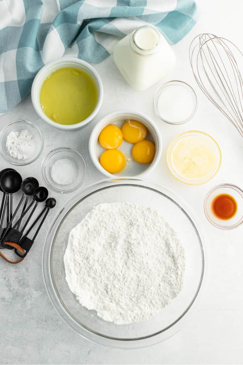 ingredients to make belgian waffles in bowls