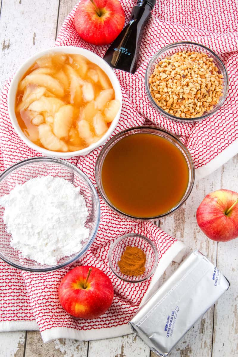 ingredients for caramel apple cheesecake dip in bowls
