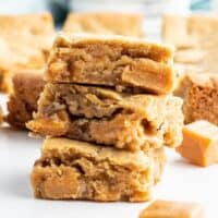 square image of blondies stacked up