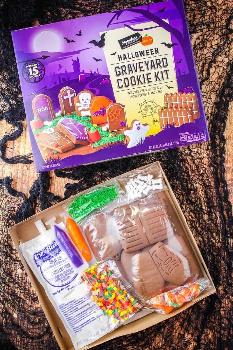 graveyard cookie kit from Albertsons, front of box shown along with all the items that come inside