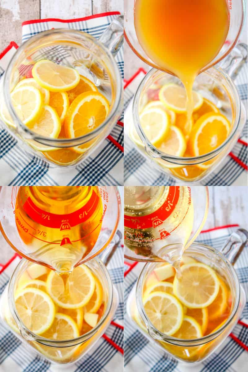 collage of fruit slices in the bottom of a pitcher, apple cider being poured into pitcher, whiskey being poured into pitcher, ginger ale being poured into pitcher