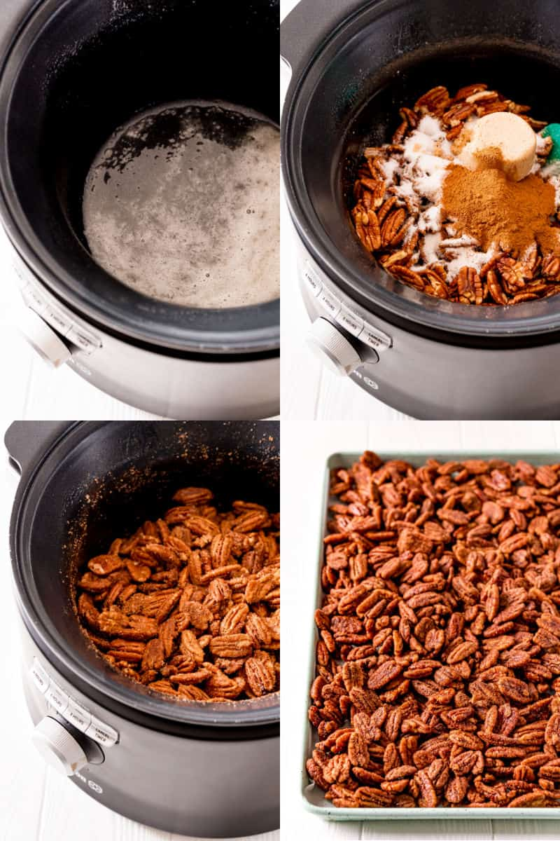 collage of beaten egg white in a crockpot, pecans, sugar, and seasoning in crock pot, pecans coated in sugar and spices ready to cook, candied pecans spread out on a baking sheet to dry