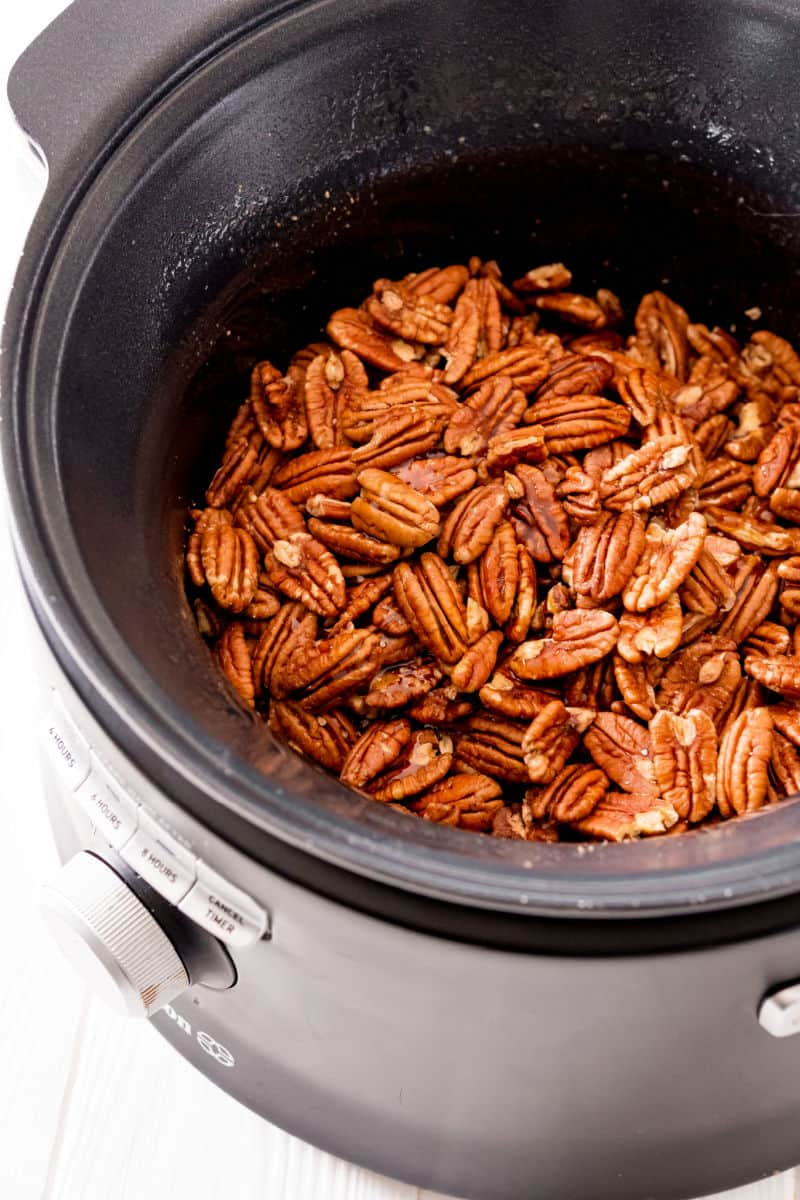 candied pecans after cooking in a slow cooker