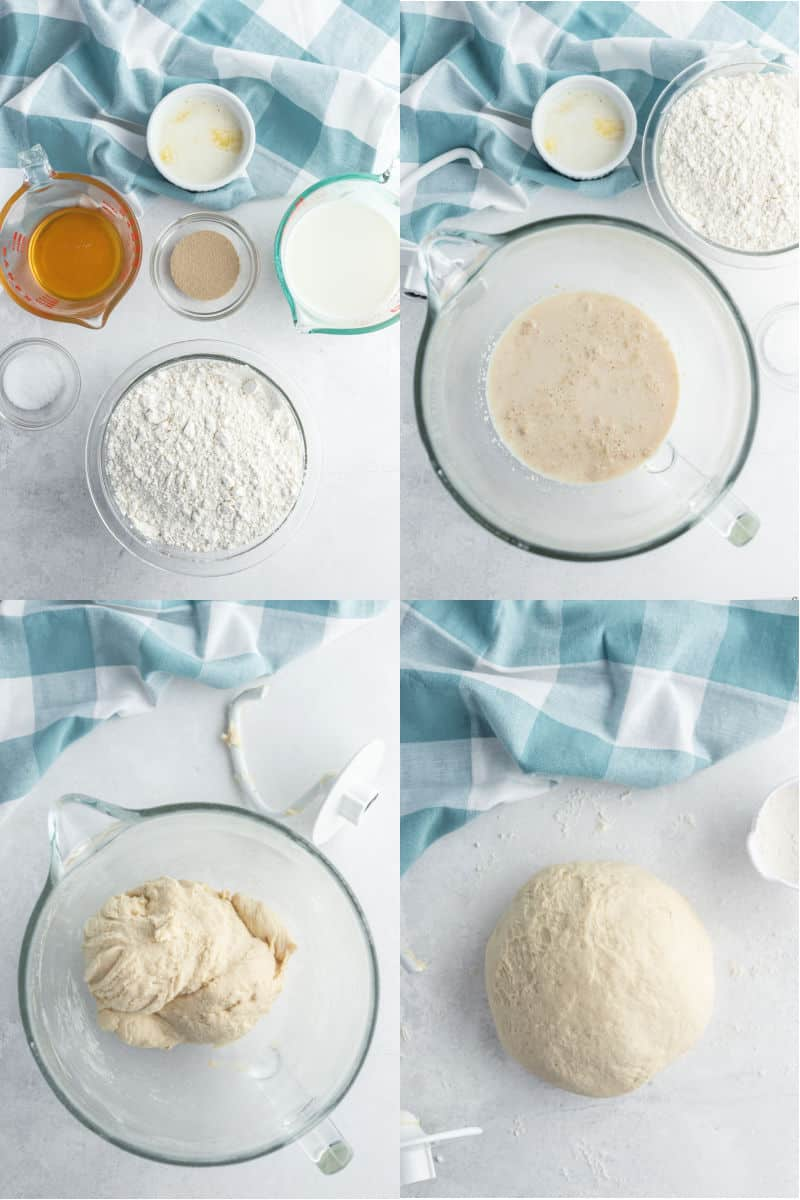 collage of ingredient to make dinner rolls, yeast proofing in a mixing bowl, dough after mixing in a bowl, dinner roll dough on a counter top