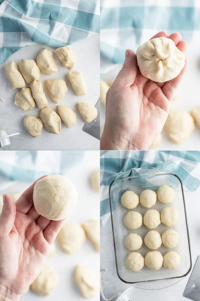 collage of dinner roll dough cut into 12 pieces, hand holding a formed roll showing pinched together dough on bottom, hand holding completed dinner roll with smooth top showing, dinner roll dough balls in a baking sheet ready to bake