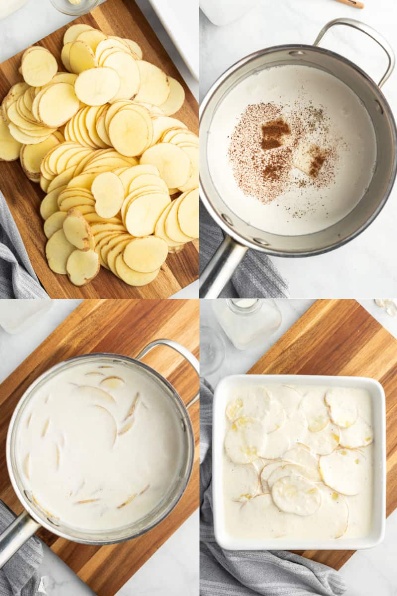 sliced potatoes on a cutting board, white sauce ingredients in a saucepan, sliced potatoes in white sauce, sauce and potatoes in a baking dish