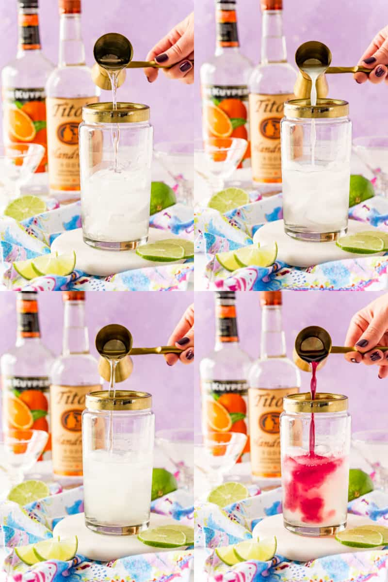 collage of vodka being poured into a clear shaker with ice, lime juice being poured into shaker, triple sec being poured into shaker, cranberry juice being poured into shaker