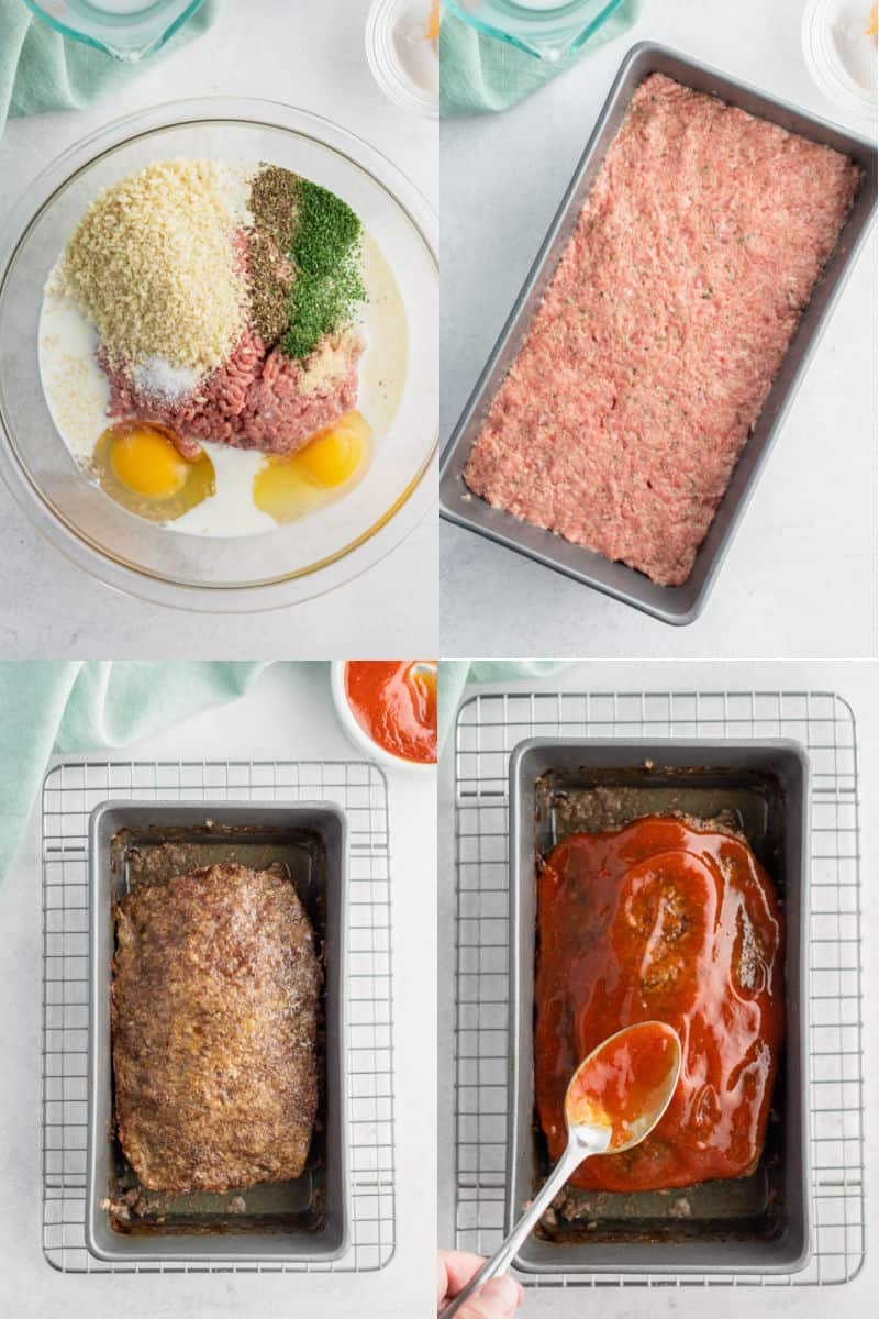 collage of meatloaf ingredients in a mixing bowl, meatloaf pressed into loaf pan, cooked meatloaf in pan, glaze being spread over top of meatloaf