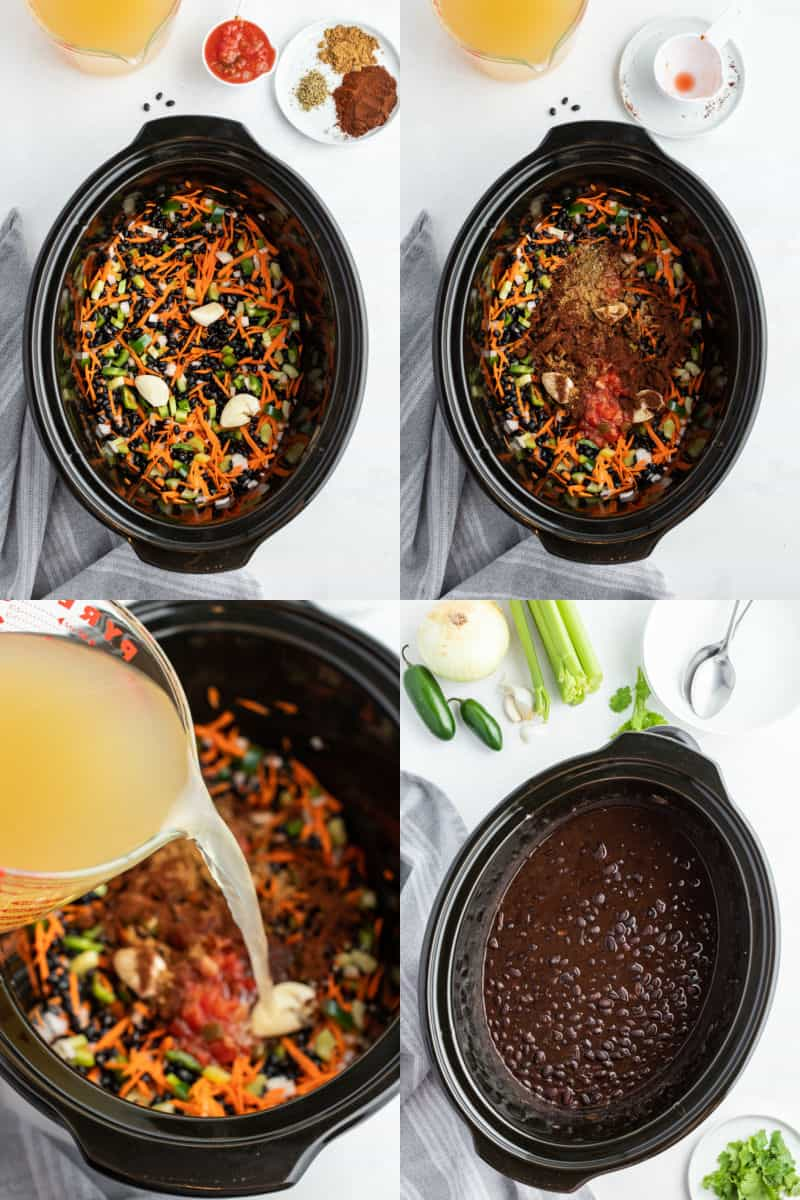 collage of veggies and dry black beans in a crock pot, seasoning added to crock pot, broth being poured into crock pot, cooked soup in crock pot