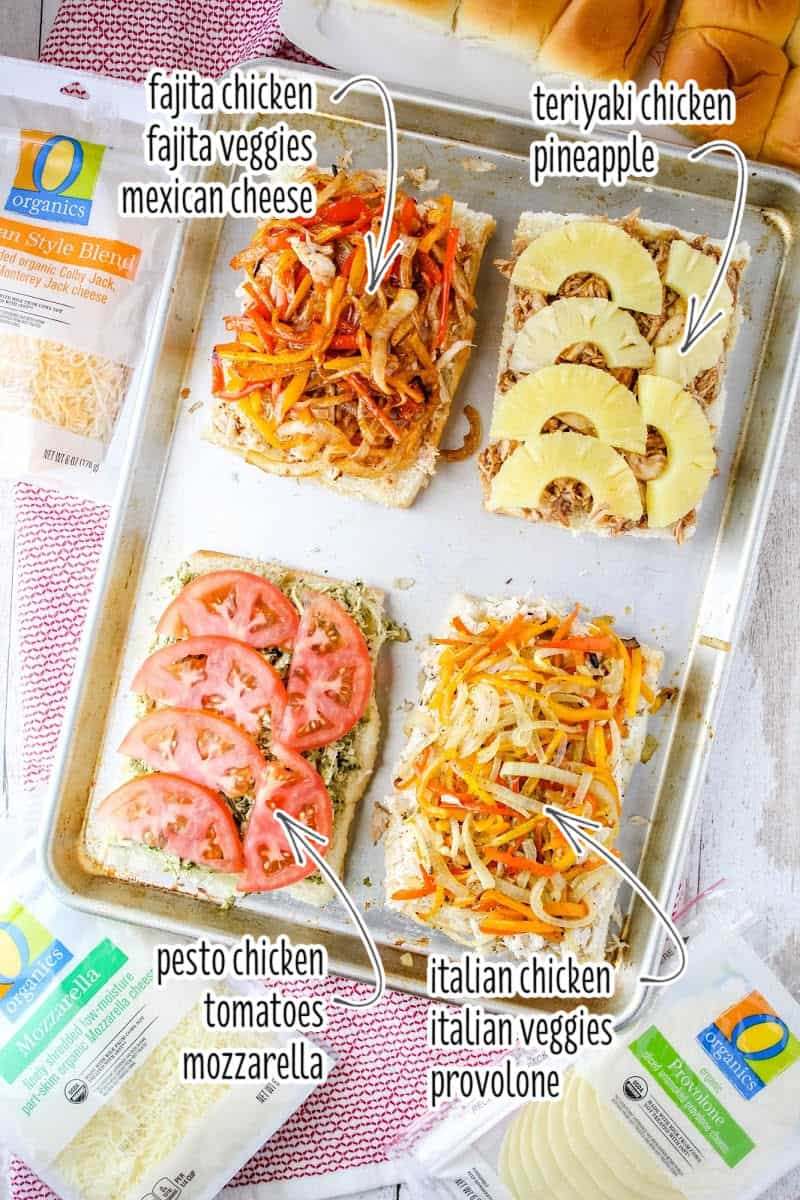 chicken sliders on a baking sheet with toppings and names of toppings