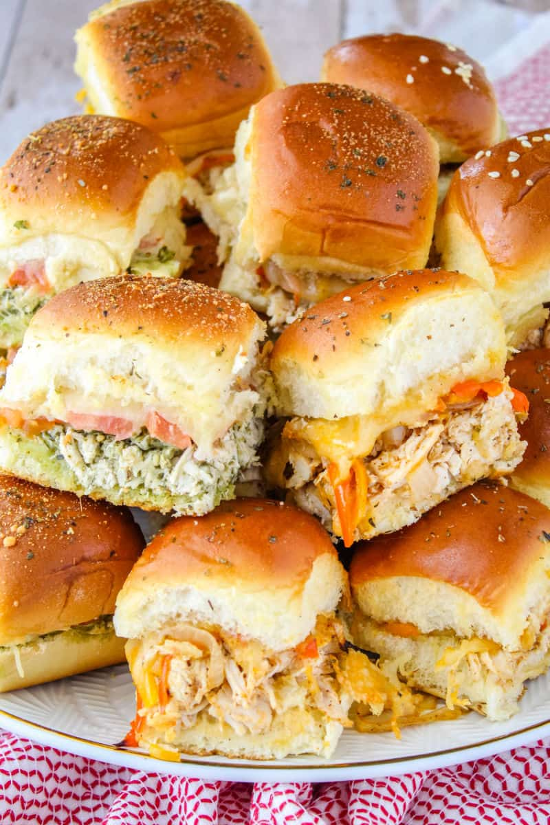 platter of pesto chicken sliders and chicken fajita sliders