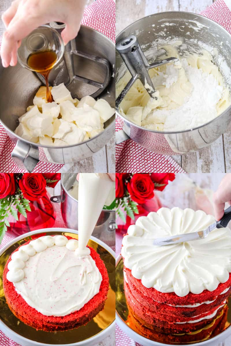collage of how to make cream cheese frosting and cake decorating steps