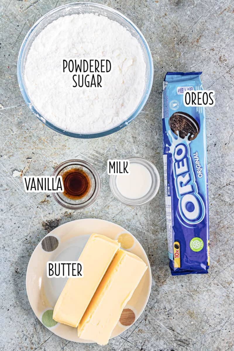 ingredients to make oreo cupcake cupcakes laid out on a countertop with text labels'