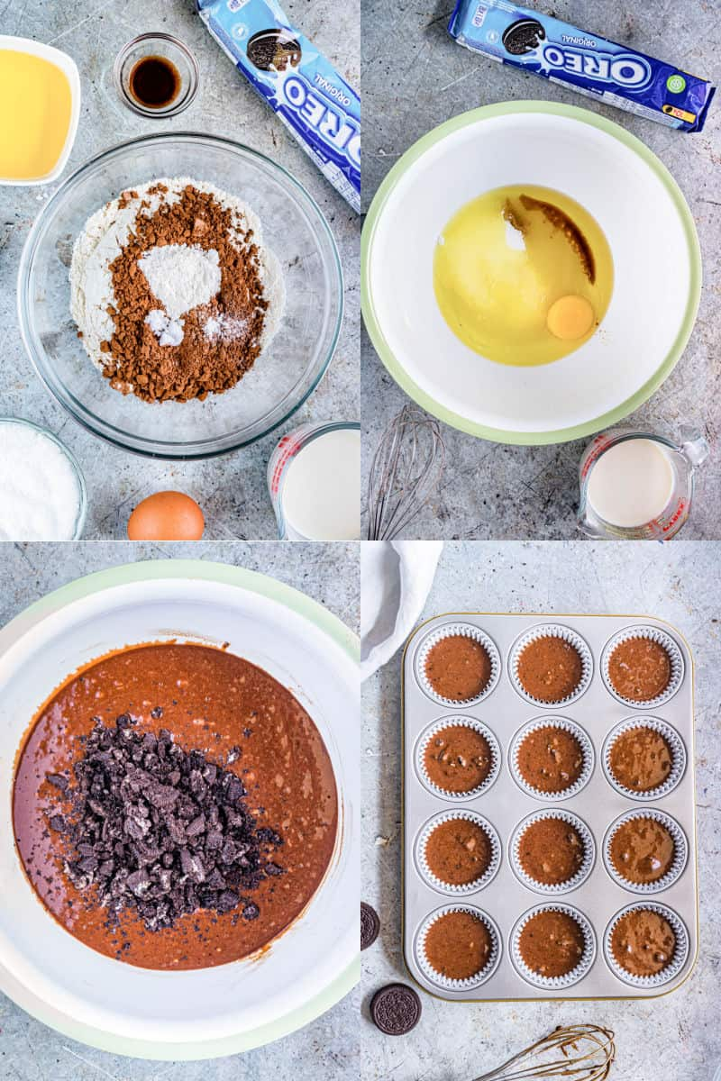 collage of chocolate cupcake dry ingredients in a bowl, oreo cupcake wet ingredients in another mixing bowl, chocolate cupcake batter with crushed oreos, chocolate oreo cupcake batter poured into lined muffin tin cups