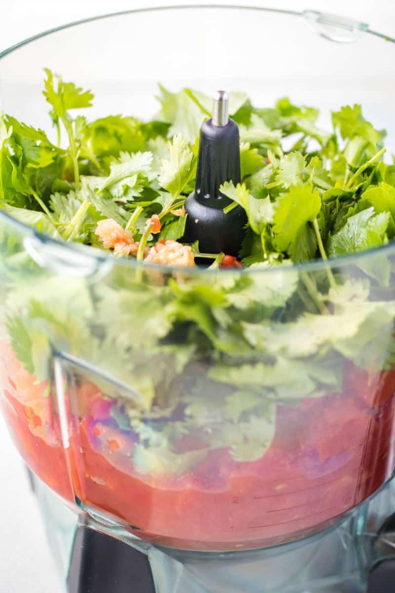 salsa ingredients in a food processor