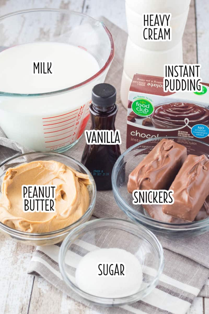 ingredients to make peanut butter chocolate parfaits on a table with text labels