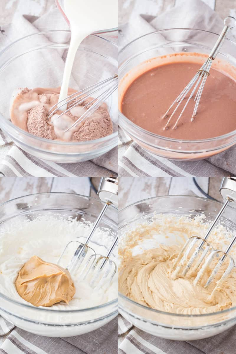 collage of chocolate pudding before and after whisking, and peanut butter mousse before and after mixing