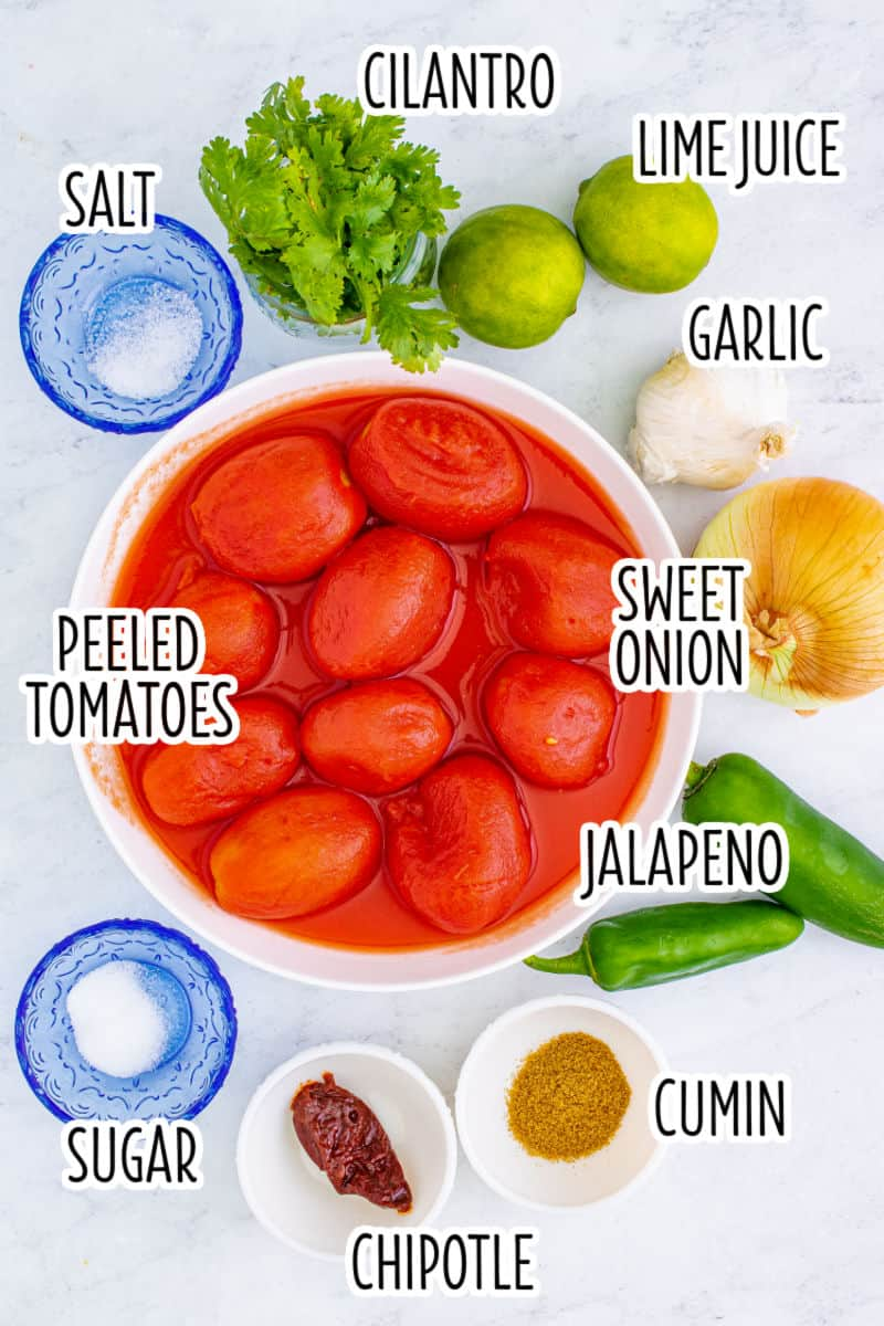 ingredients to make blender salsa recipe with text lables