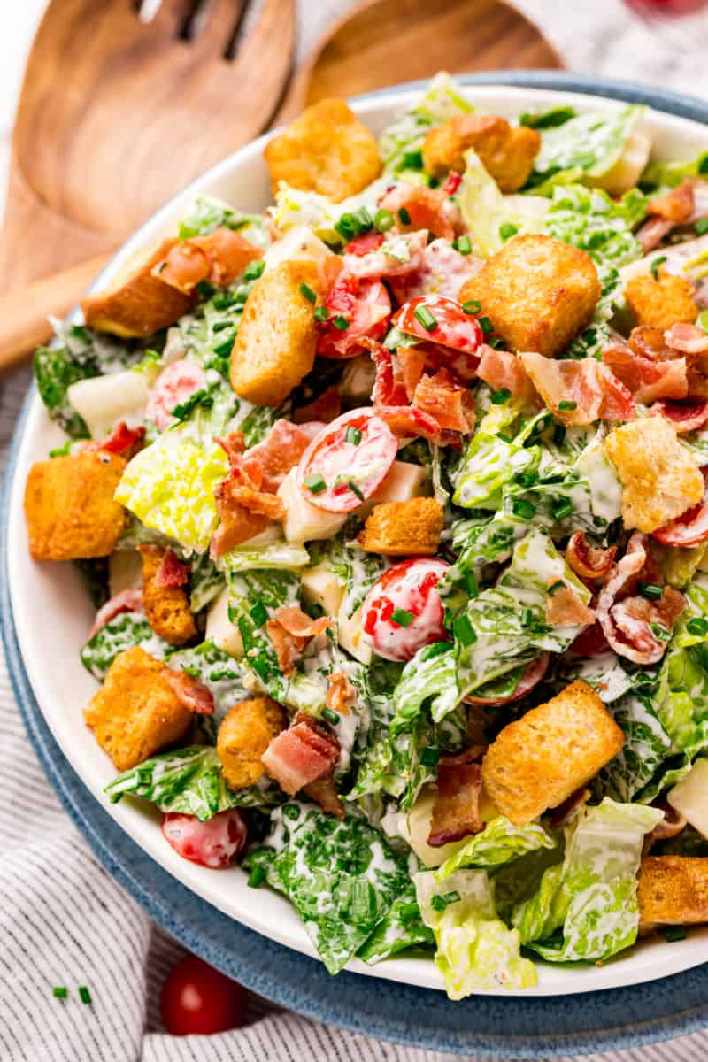 plated BLT salad topped with croutons
