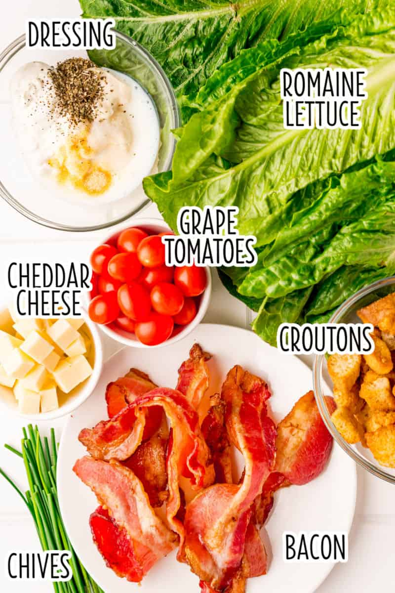 ingredients to make BLT salad laid out on a counter with text overlay