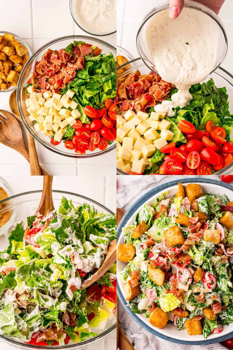 collage of salad ingredients in a bowl, dressing being poured over salad, dressing just after tossing, finished BLT salad in a serving bowl