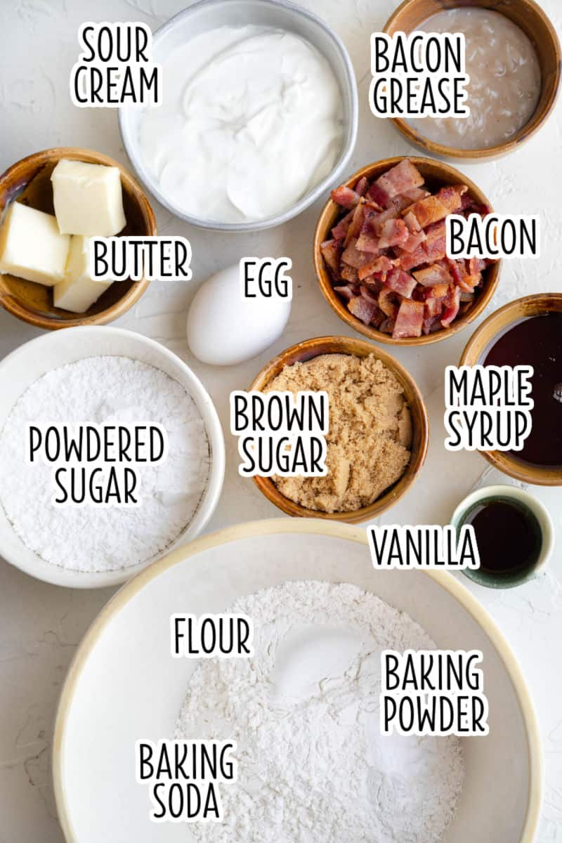ingredients to make maple bacon donuts with text overlay