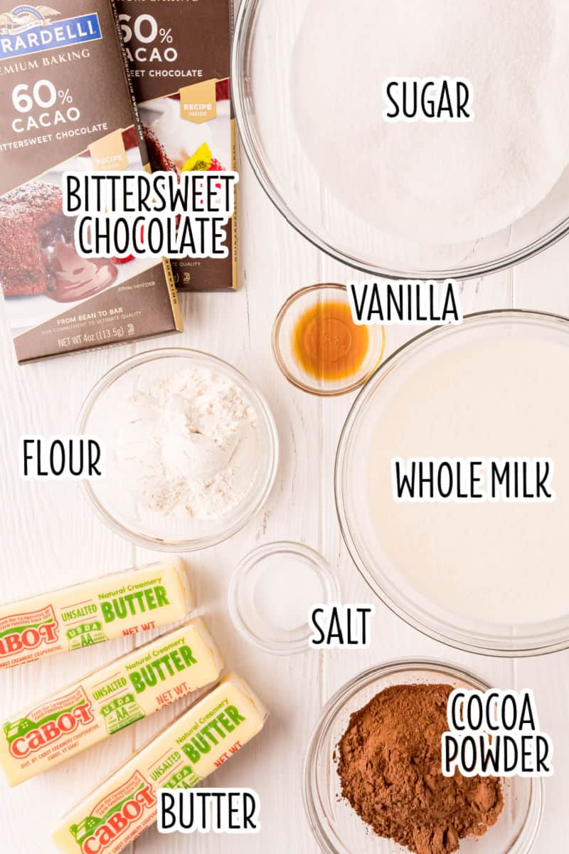 ingredients to make chocolate pudding forsting laid out on a table with text overlay