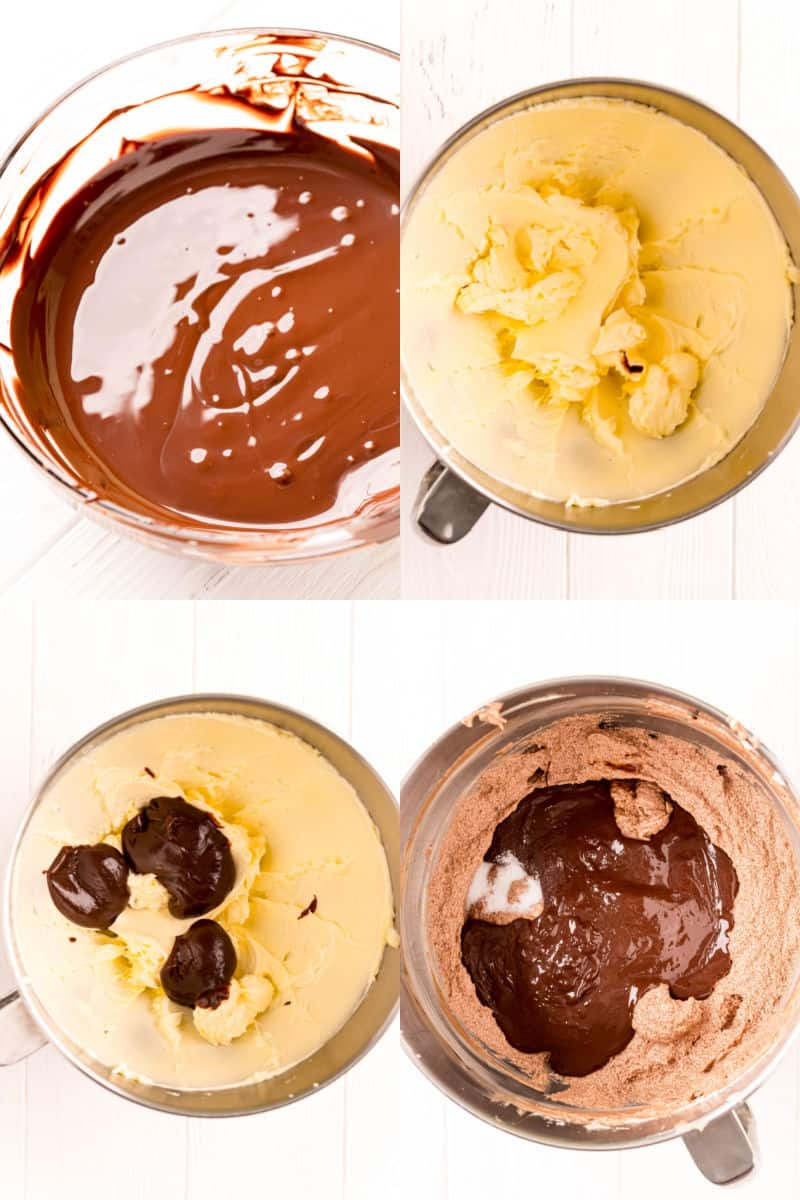 melted bittersweet chocolate in a bowl, pudding mixture added to creamed butter in a bowl, dollops of melted chocolate adding to pudding mixture, vanilla, salt, and remaining melted chocolate added to frosting