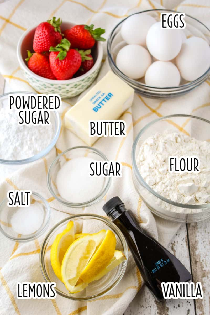 ingredients to make german pancakes laid out with with overlay