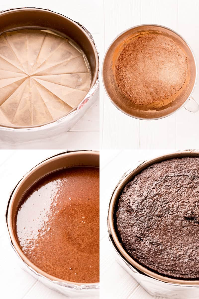collage of parchment paper in a round cake cake, cake ingredients in a mixing bowl, cake batter poured into prepared pan, baked cake in pan