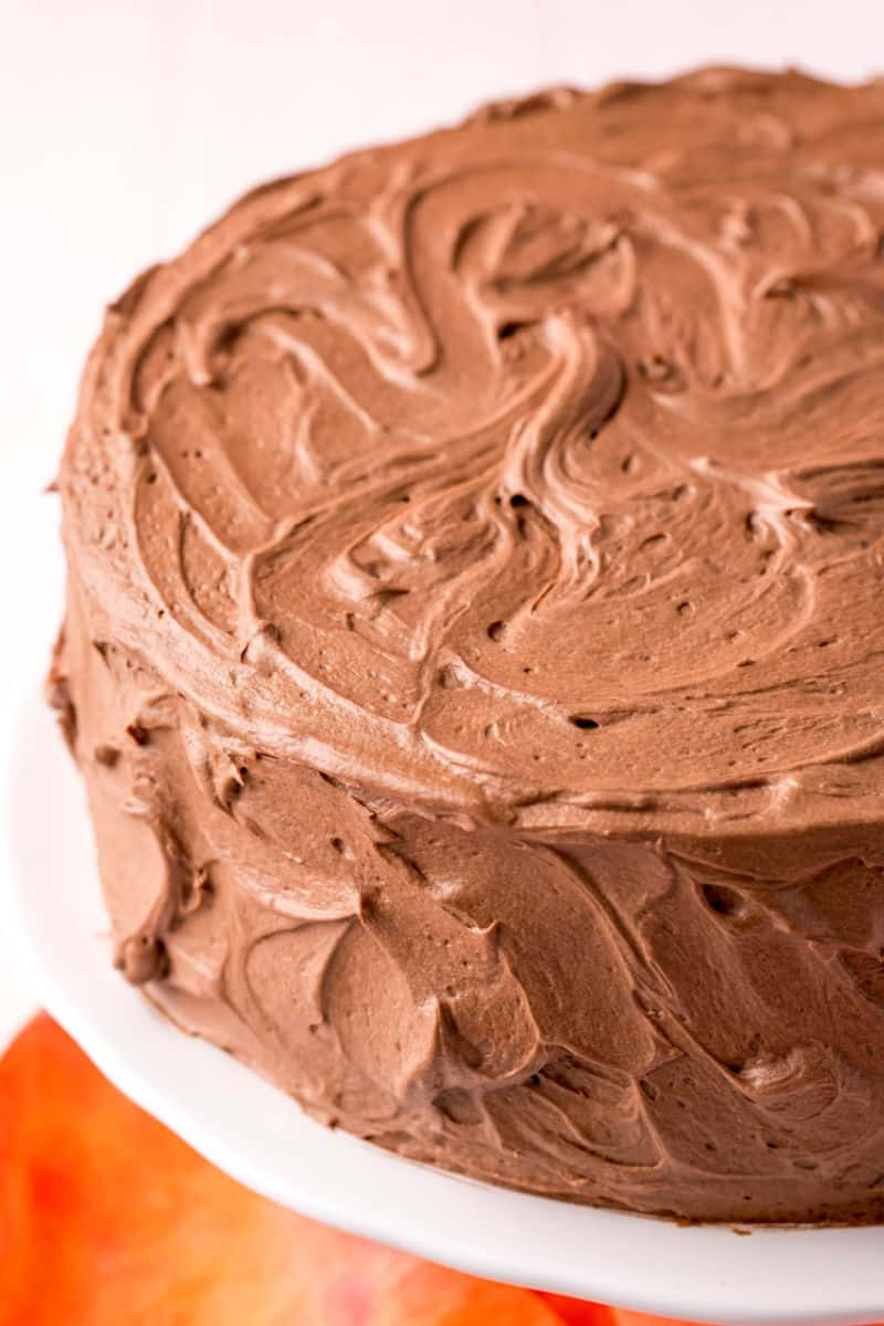 frosted homemade chocolate cake on a cake stand