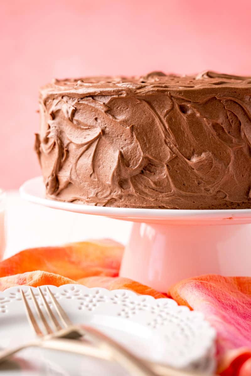side view of homemade chocolate cake with chocolate frosting on a cake stand