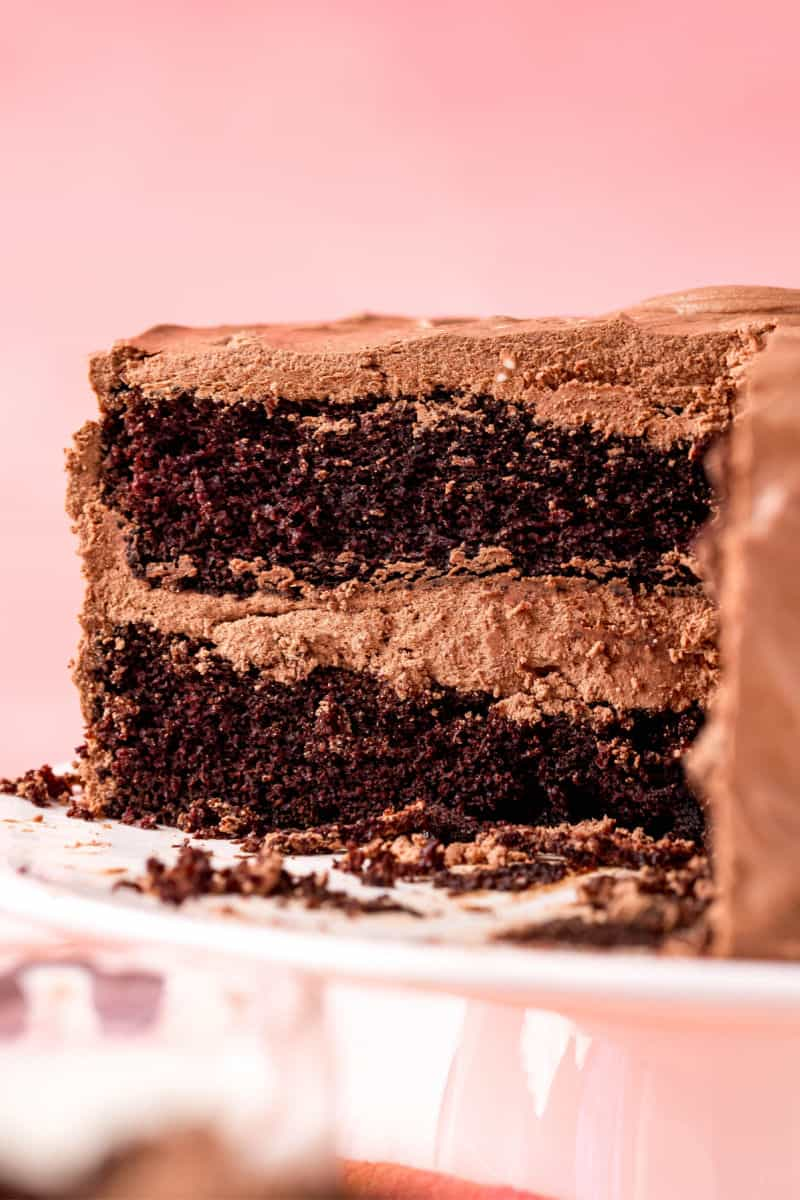 chocolate cake with a slice removed to show layers