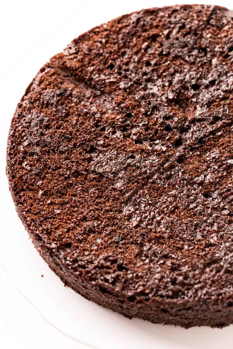 chocolate cake layer on a cake stand