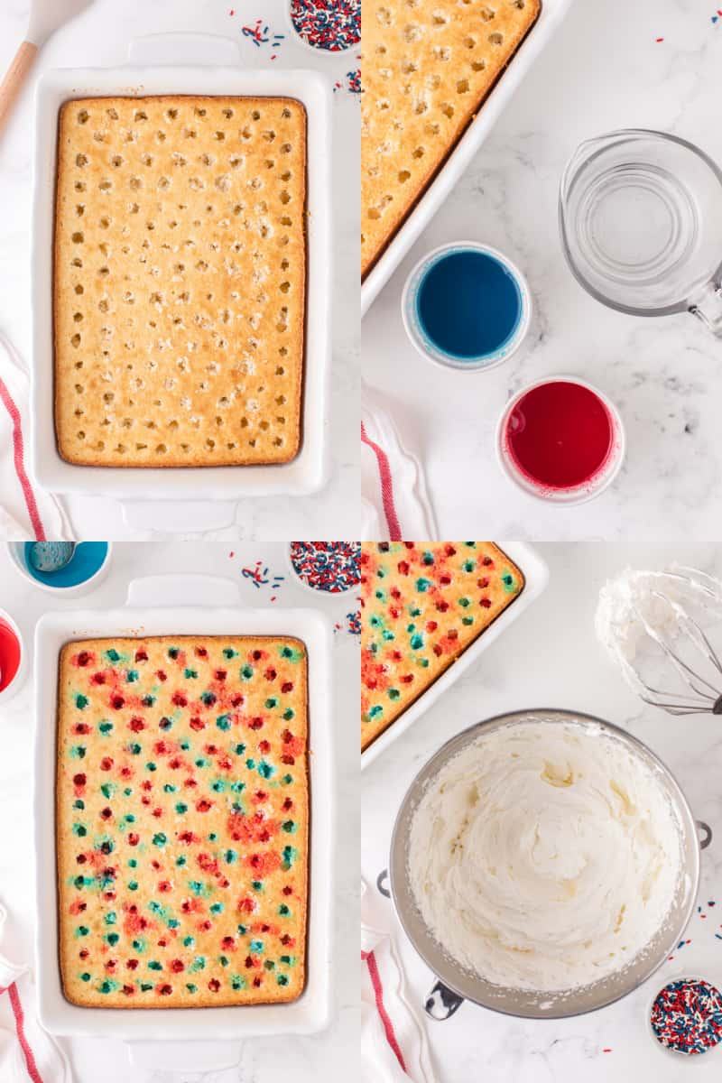 collage of baked cake with hole poked all over the top, two bowls with red and blue jello liquid, blue and red jello poured over cake, whipped cream in a bowl next to the prepared cake