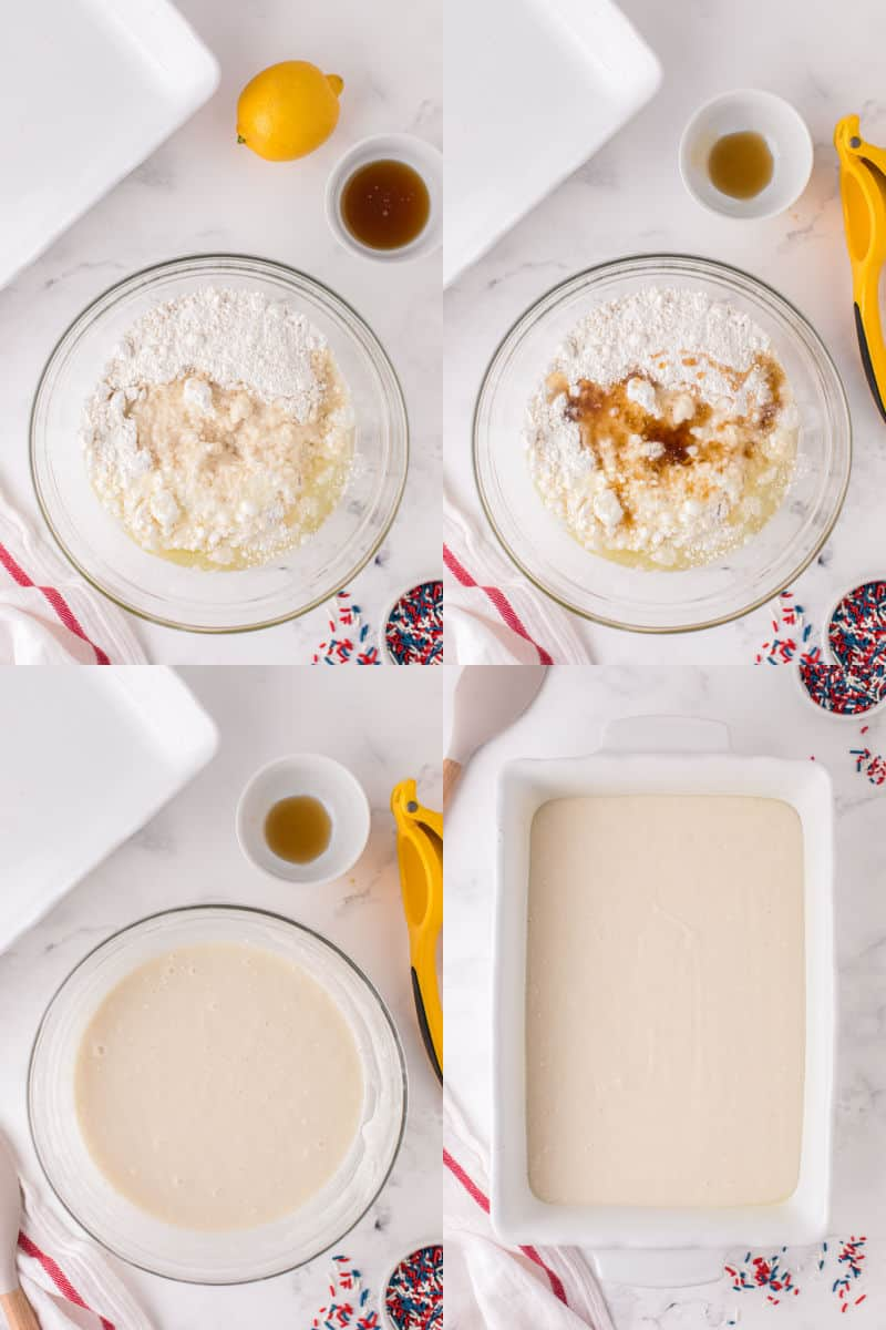 collage of cake mix ingredients in a bowl, syrup and juice add to ingredients, cake batter in a bowl, cake batter in a baking dish
