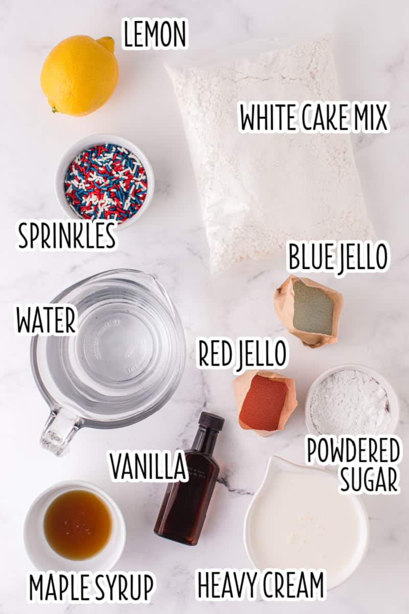 ingredients to make 4th of juyl poke cake with text overlay labels