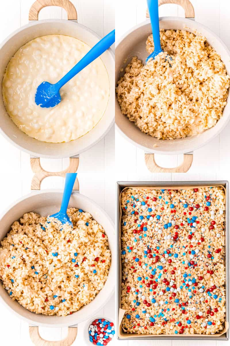 collage of butter and marshmallows melt in a pot, rice krispie cereal stirred into marshmallows, red white & blue M&Ms stirred into cereal, rice krispie treats pressed into a pan with sprinkles and M&Ms on top