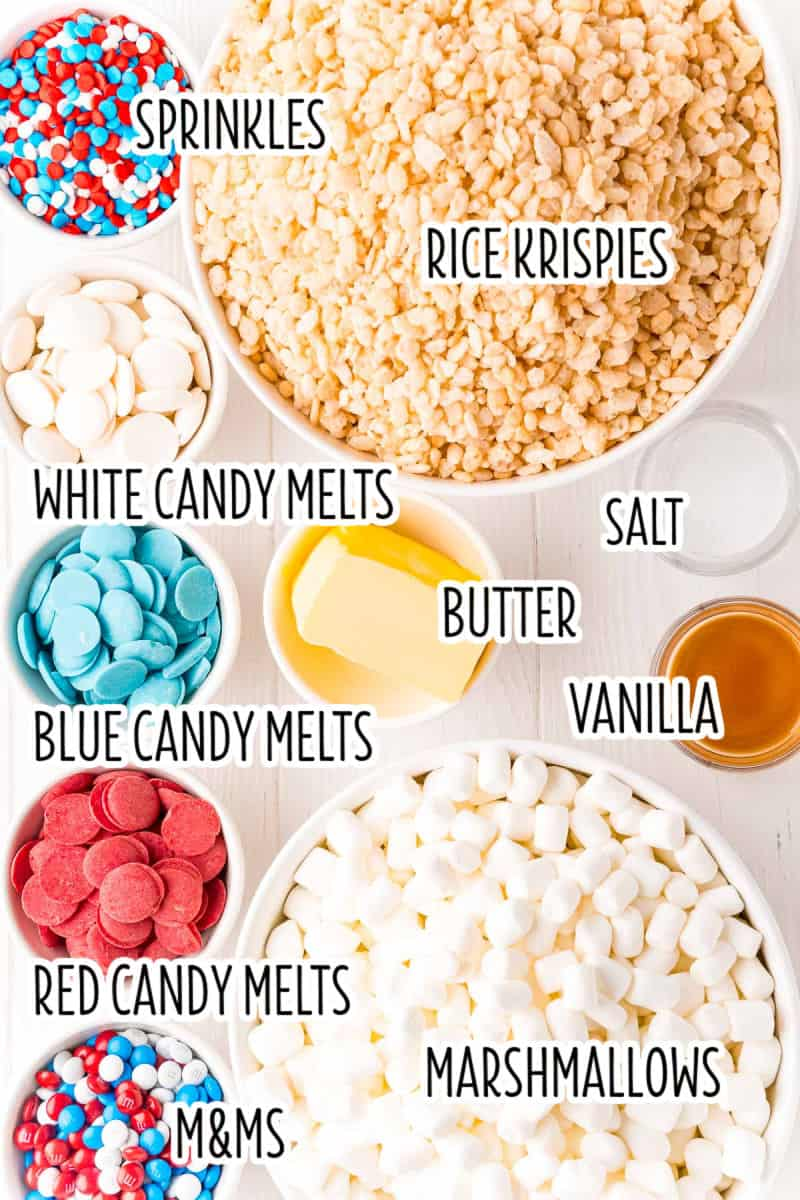 ingredients to make 4th of july rice krispie treats in bowls with text labels