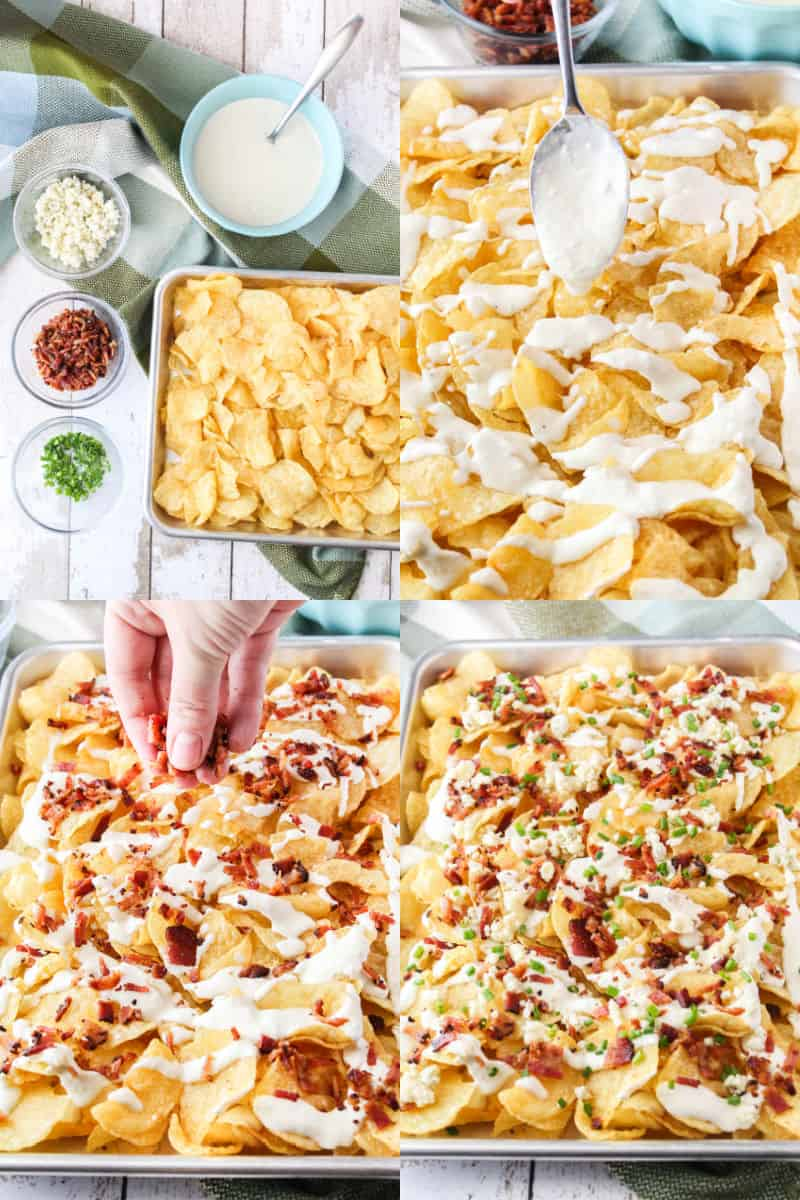 collage of nacho ingredients prepped for assembly, blue cheese sauce being spooned over potato chips, bacon being sprinkled over sauce, blue cheese and chives sprinkled over chips