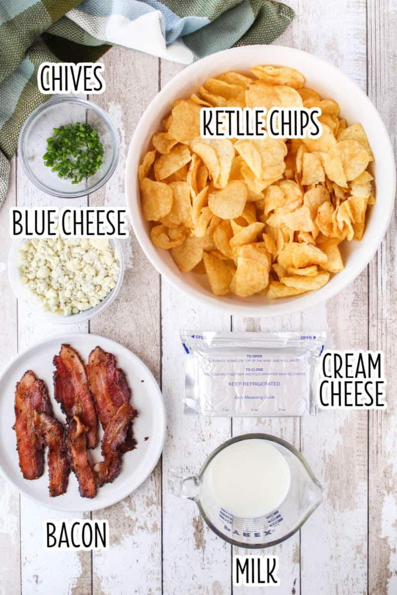 ingredients to make potato chips nach laid out on a table with text labels