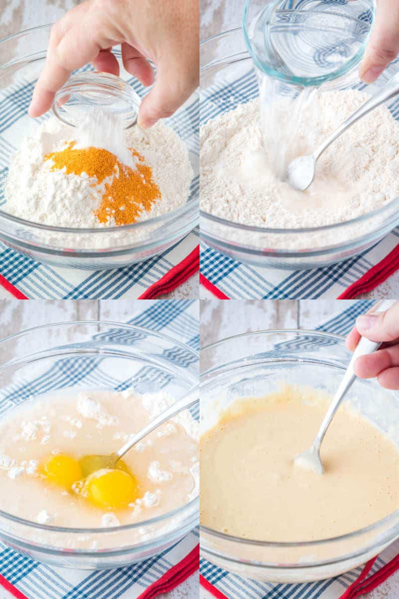 collage of seasoning added to flour in a mixing bowl, water pouring into stirred flour, eggs added to batter, finished onion ring batter in a bowl
