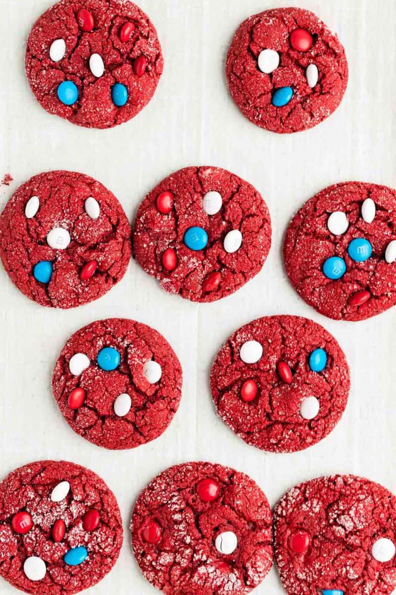 red velvet cake mix cokies on a baking sheet after baking