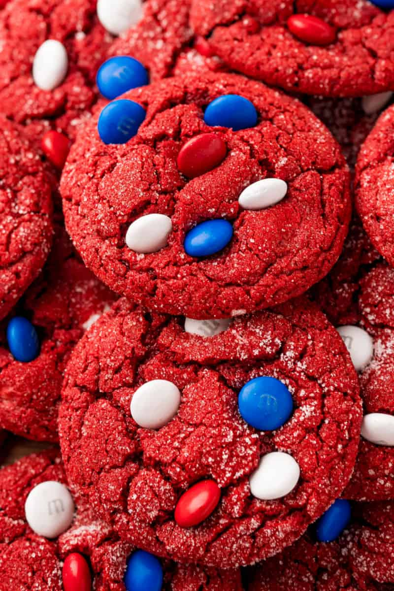 close up of red velvet cookies with red, white and blue M&Ms