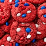 square close up image of red velvet cake mix cookies